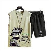 Летние без рукавов футболка мужская спортивная одежда Японский аниме иминг повседневный костюм с набором красивого жилета шорты