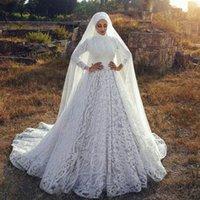Vintage A Line Muslim Wedding Gowns Lace Retro Long Sleeves Plus Size Garden Country Bridal Party Dresses Sweep Train vestido de novia
