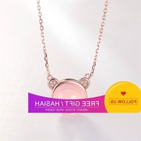 Synthetic Pink Crystal Hibiscus Stone Bear Pendant Female Japan Korea Clavicle Chain Plated with Rose Gold Necklace Gift