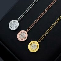 New Arrive Fashion Lady 316L Titanium steel Lettering 18K Plated Gold Necklaces With Rotating Black Onyx Full Diamond two-sided Pendant