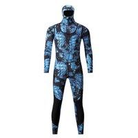 Men's Swimwear Camo Spearfishing Wetsuits Men 3mm  1.5mm Neoprene 2-Pieces Hooded Long Sleeve Scuba Diving Suit Full Body Keep Warm Snorkeling Suits