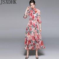 Casual Dresses 2021 Summer Fashion Designer Runway Woman Midi Dress Bow Collar Floral-Print Bohemia Vacation Elegant Party Chiffon Dresse