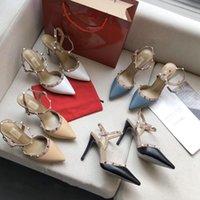 Femmes Haute Talons Sandals Designer Soupeaux pointus Rivets en cuir verni Femme Sandal Femme Sandded Hope Robe Chaussures Valentine Chaussure Taille 34-40