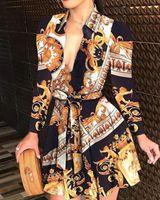 Seksowne Drukowane Suknie V-Neck Sukienki Kobiety Lace Up Button Down Łańcuch Print Lapel Neck Party Dress Casual Długi Rękaw i Bez Rękawów Oversized Fashion Shirt