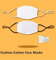 Adult Kids Blank Sublimation Face Masks With Filter Pocket Can Put PM2.5 Gasket Adjustable Earloop Cotton Mask for Transfer Print DAT378