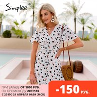 Simplee sexy polka dot boho v-ausschnitt kleid sommer farbe hülse hohe taille a-line frauen kurze kleid mode kurze hülse vestidos