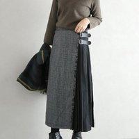 Skirts Rosetic 2021 Korean Plaid Long Skirt Women Patchwork Fashion Buckle Punk Gothic Black Blue Maxi High Waist A Line Girl