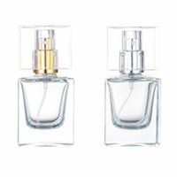 Empty glass perfume bottle atomizer spray cosmetic transparent square 30ml