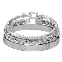 3 unids / set Royal Roman Bracelets Cable Alambre Herradura Hebilla Brazaletes Para Hombres Acero Inoxidable Pulseiras Accesorios de Joyería 521 Q2