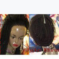 Yeni stil afro büküm örgülü peruk sentetik ısıya dayanıklı siyah. Kahverengi bordo mevcut sentetik dantel ön peruk siyah kadınlar için