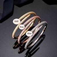 Women Wedding Nail Bangle Bracelets Stainls Steel Iced Out Bangl Bracelet Diamond Jewelry For Gift no box
