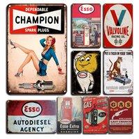 Esso Extra Moteur Huile Metal Tin Signe Vintage Champion Spark Branchez la plaque d'étain Signe Retro Gas Station Décor Plaque de métal personnalisé