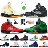 5 off white retro 5 5s jumpman stock x Chaussures de basket-ball pour hommes Mousse rose What the Alternate Grape 5s Oregon Fire Red formateurs baskets