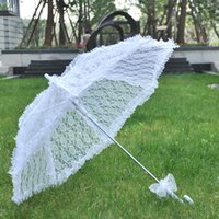 White Dentelle Sun Parapluie Fille Femmes Parasol Dame Porter Bumbershoot Mariage Partie de mariage Événements Ornement Artisanat Accessoires