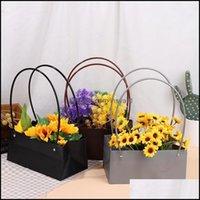 Hediye Wrap Olay Şenlikli Malzemeleri Ev Bahçe Çiçekler Taşıma Çantası Kraft Kağıt Torbaları Rectrangar Çiçek Kutusu Kolu Ile Su Geçirmez PVC Buket Flo
