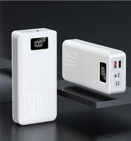 Güç Bankası Harici Pil Poverbank 2 USB LED 30000 mAh Powerbank Tip-C Taşınabilir Cep Telefonu Şarj Iphone X XR XS Max 8 Artı