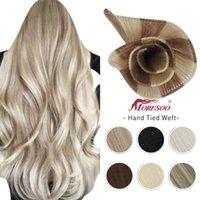 Moroo 10A handbundna väftförlängningar 100% Virgin Hu Hair Straight Osynlig Brazilian Blonde Sy i Bundl Handgjorda