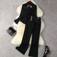 European and American women's wear new autumn 2022 Long-sleeved bow flounces shirt The horn trousers Fashion suits