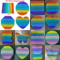30*30CM Big Rainbow Macaron Decompression Push Bubble Toy Favor Colorful Stress Reliever Sensory Silicone Toys Kids Adults in stock