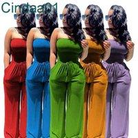 Frauen Jumpsuits Designer Sexy Solide Farbe aus der Schulter frostig trägerlos Tunnelzug breite Beinhose overalls plus größe clubwear 5 farben