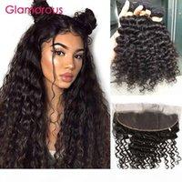 Bundles de cheveux humains brésiliens avec une cuticule de corps profonde glamour frontale alignez la vierge cheveux tisser 3pcs avec une oreille de 13x4 à l'oreille frontales en dentelle
