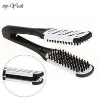 Pro frisör rätare nylon hår rätning dubbelborstar v form kam klämma inte skada styling verktyg diy hem