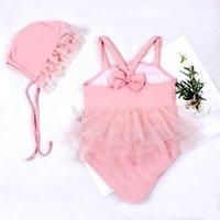 Baby Girl Swimsuit Romper Dress Lace Hem No-Sleeve Sling Beach Clothes Summer Up Swimming Cap Beachwear Swimwear One-Pieces