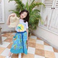 Sweet Girls Sets Summer Kids T-shirt +Skirt 2pc Suits Clothes children Sun Print beach Cotton Outfit