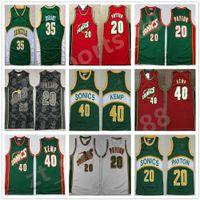 Homens Basquetebol Shawn Kemp Jersey Gary Payton Kevin Durant Ray Allen Costurado Verde Verde Branco Vermelho Vermelho Casa Respirável Boa Qualidade