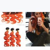 جذور الظلام أومبير الشعر البرتقالي تمديد مع إغلاق أمامي أومبير لون الجسم موجة 1B 350 البرتقال الشعر البشري حزم مع الدانتيل أمامي 13x4
