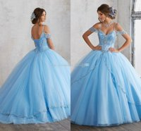 2020 Cheap Light Sky Blue Ball Gown Quinceanera Dresses Cap Sleeves Spaghetti Beading Crystal Princess Prom Party Dresses For Sweet 16 Girls