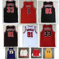 Mens Sports Shirts Bordado 1 # Derrick Rose Red Jerseys Basquetebol The Worm 91 # Dennis Rodman Branco preto 33 # Scottie Pippen costurado