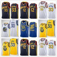 2020-21 Yeni Erkek Kadın Çocuk Gençlik Kelly 12 Oubre Jr. James 33 Wiseman Stephen 30 Köri Jersey Basketbol Şehir Donanması Siyah Sarı Mavi Beyaz