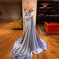 Sky Blue Mermaid Prom Klänningar Ruffles Beaded Elegant Sweep Train Evening Gowns Robe de Soiree Formell Party Dress