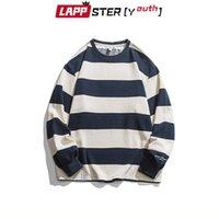 Sweats à capuche pour hommes Sweatshirts Lappster-Jeunesse Hommes à rayures à manches longues Streetwear 2021 hommes Harajuku Kawaii Male Japonais Vintage KPOP