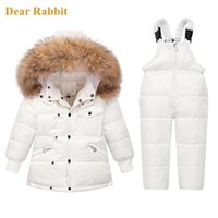 Winter Children Clothing Sets Snow wear Down Jacket Baby Boy toddler Girl snowsuit kids clothes parka real Fur Hooded Coat -30 211020