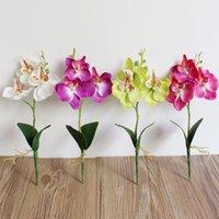 Fleurs artificielles Naturellement Triple Triple Butterfly Orchidy Orchidy Fleur Home Mariage Partie de mariage Drop f Couronnes décoratives