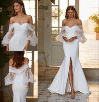 Stunning Beach Mermaid Wedding Dresses Front Split Bridal Gowns Off The Shoulder Neck Long Sleeves Sweep Train Bohemian robe de mariée