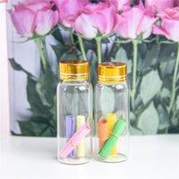 27 * 70mm 24 stücke 25 ml Glasflaschen Aluminiumschraube Goldene Kappe Leerer Transparent Klarer Liquid Gift Container Wishing Flasche Jarsjars