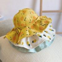 لطيف الصيف طفلة دلو قبعة طباعة في bowknot الاطفال فتاة قبعة الشمس الأطفال intant طفل بنما شاطئ كاب