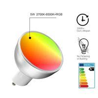 GU10 RGB + CW LED Lampadina 5W IR AC 85-265V Spotlight Atmosfera Atmosfera Illuminazione Cambio Decorativo Smart Home WiFi Telecomando