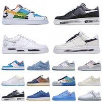 [Mit Kasten] CLOT X Nike Air Force 1 Blue Silk  Gore-tex Peakeminone Beiläufige Schuhe Kräfte Para-Rauschen Damen Herren Weiß / Schwarz-Weiß Utility G-Dragon Dunk Airs One 1s