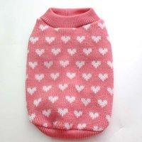 Dog Apparel Hearts Pet Sweater Jumper Cat Puppy Coat Jacket Warm Clothes 5 Sizes