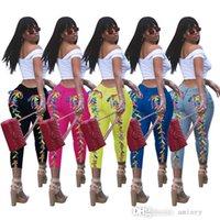 Pantaloni europei e americani Fashion Womens Corns Nightclub Nightclub Wasked Jeans Jeans multicolor Fiori Burning Flowers Pantaloni