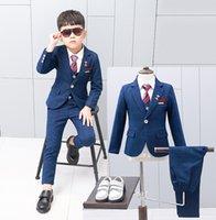 الأولاد أداء مجموعات أطفال منقوشة طية صدر السترة طويلة الأكمام الحلل أبلى + واحدة الصدر الخصر + شريط التعادل قميص + سروال 4pces A6898