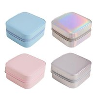 Jewelry Pouches, Bags Waterproof Box Small Mini Ear Studs Lipstick Rings Bracelets Storage Organizer Built-in Mirror Desktop