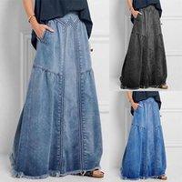Skirts Oversize Denim Jeans Women Long Skirt Stretch Vintage Loose Slim Fit Blue Club Streetwear Sexy Harajuku Distressed