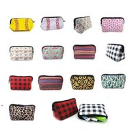 Durable Neoprene Comestic Bag Party Favor Wash Gargle Portable Sunflower Grid Designs Waterproof Pencil Coin Make Up Storage Bags LLF9060