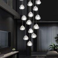 Lâmpadas pendentes modernas redonda forma transparente de cristal bola de vidro led luzes duplex apartamento bar villa espiral escadaria longo candelabro