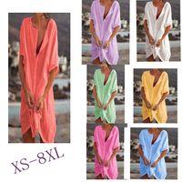 Women's Shirt Multi Color Size Medium Length Loose Solid Short Sleeve